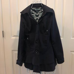 Black Maurices Tiered Pea Coat